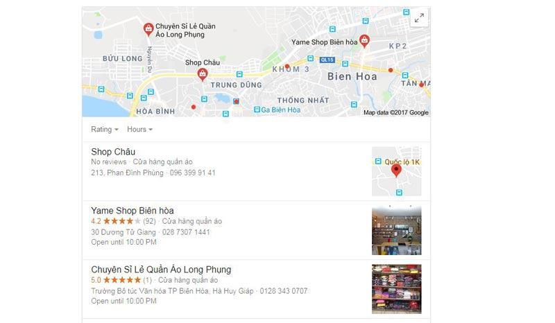 kết quả hiển thị trên google map