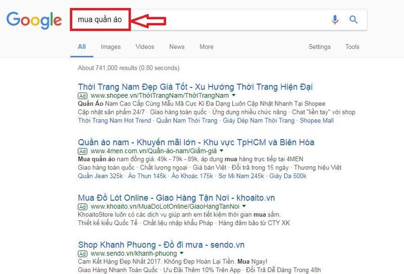 google adwords hiển thị tìm kiếm mua hàng