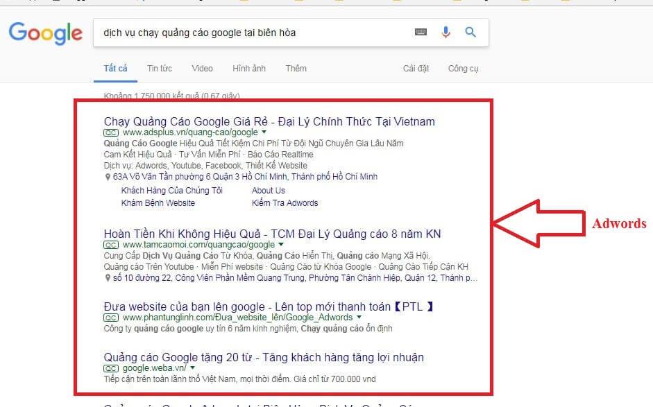 Sự khác nhau giữa Google Adwords và SEO