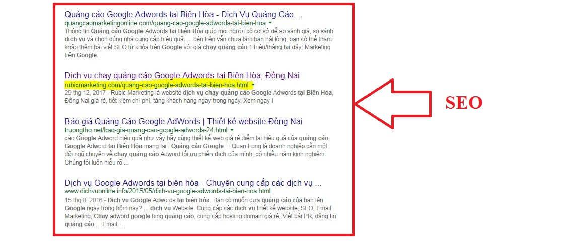 kết quả seo trên google