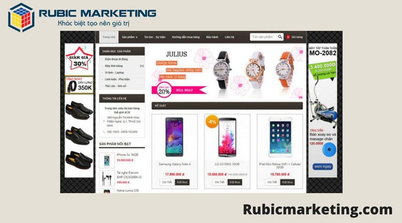 bố cục thiết kế web bán hàng