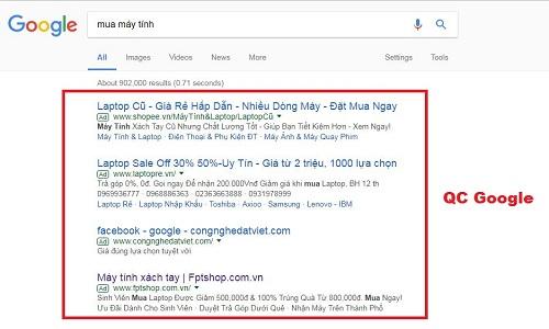 quảng cáo adwords tìm kiếm
