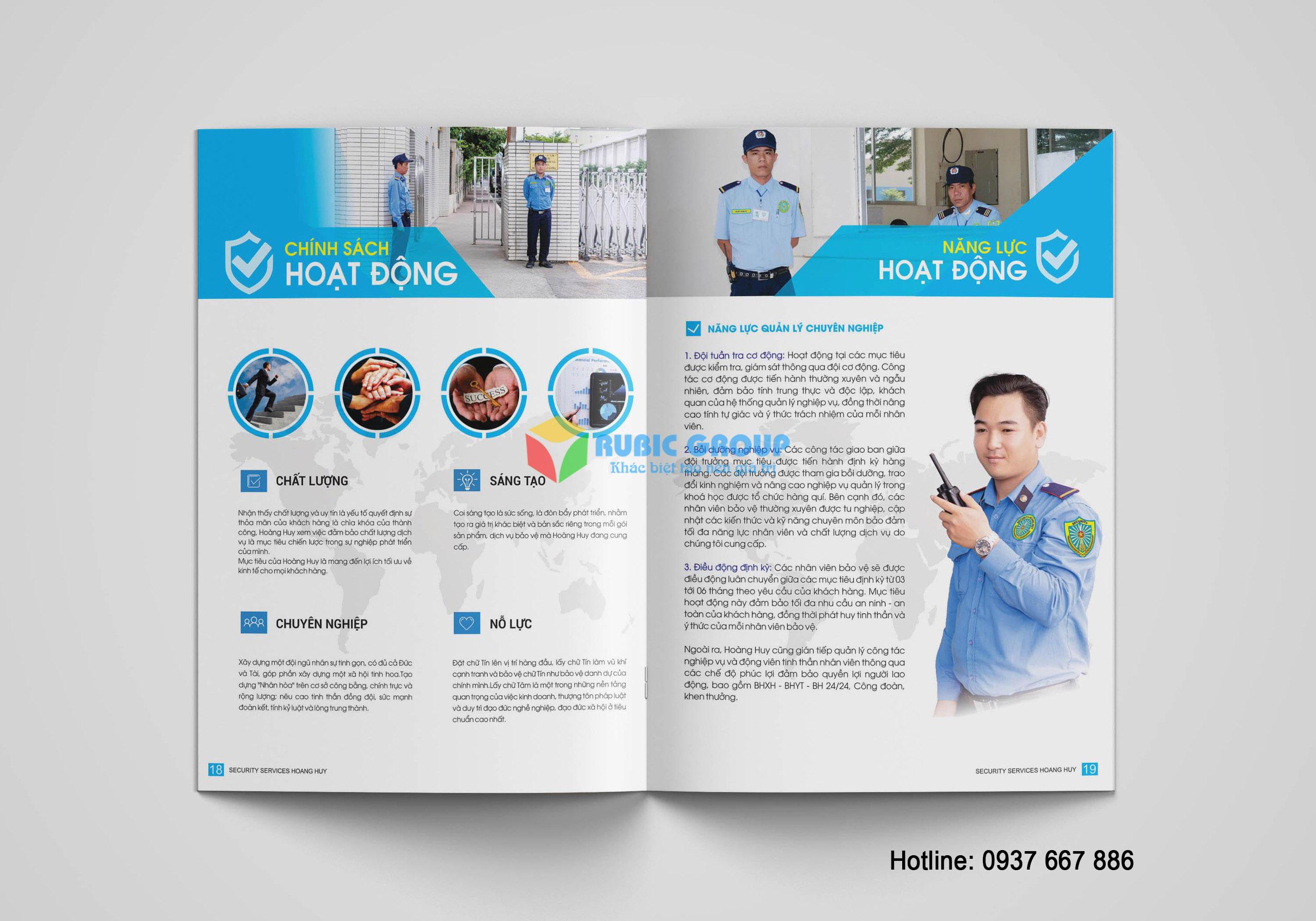 thiết kế hồ sơ năng lực công ty bảo vệ hoàng huy 3